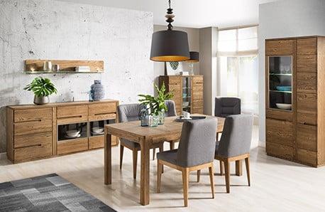 Vitríny, komody, stoly a stolíky v štýlovom drevenom dekore