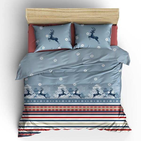 Bavlnené obliečky s plachtou Blue Christmas, 200 x 220 cm