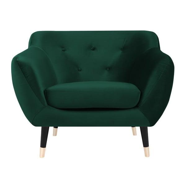 Zelené kreslo s čiernymi nohami Mazzini Sofas Amelie