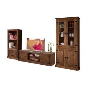 Tmavohnedá trojdielna obývačková stena z borovicového dreva Støraa Alfredo