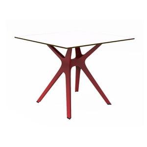 Jedálenský stôl s červenými nohami a bielou doskou vhodný do exteriéru Resol Vela, 90 × 90 cm