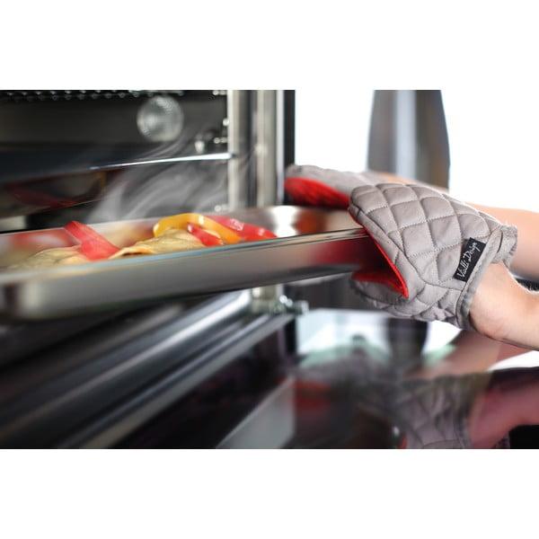 Červeno-sivá bavlnená chňapka so silikónom Vialli Design Hot Touch