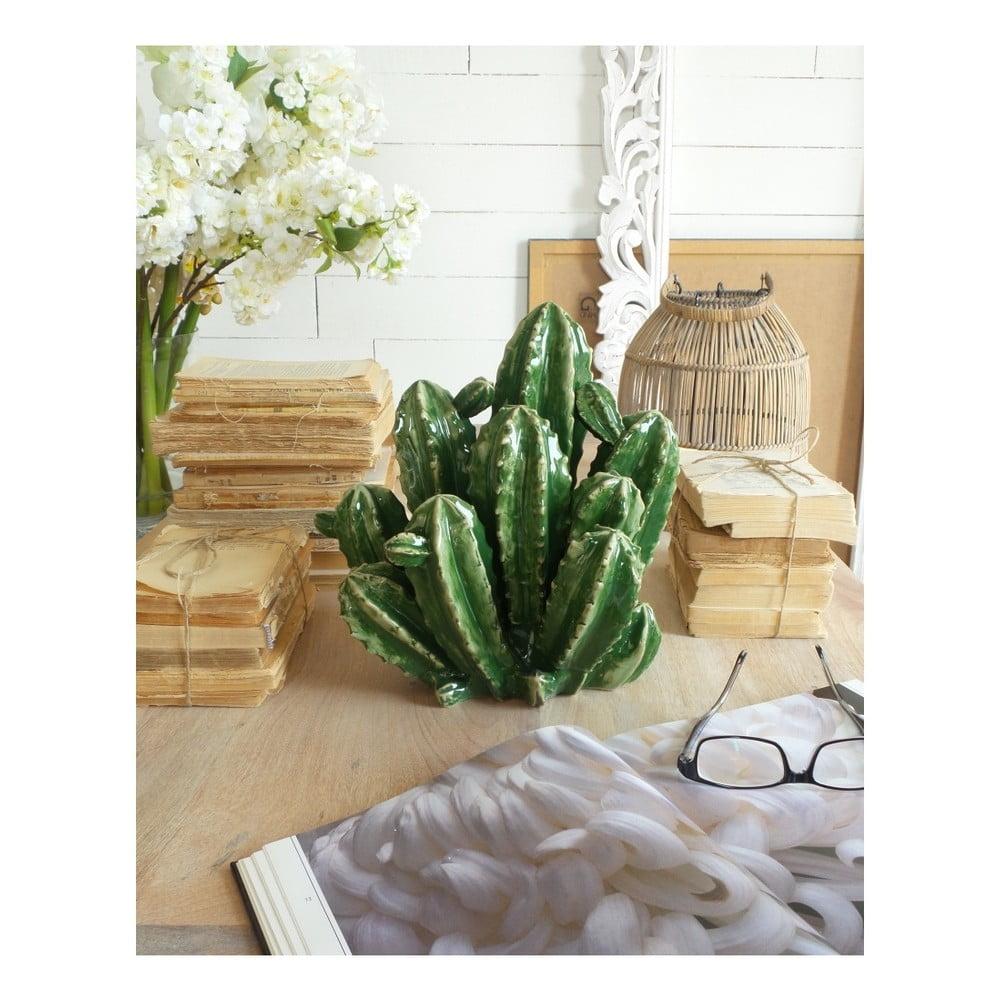 Zelená keramická dekorácia Orchidea Milano Cactus, výška 28 cm