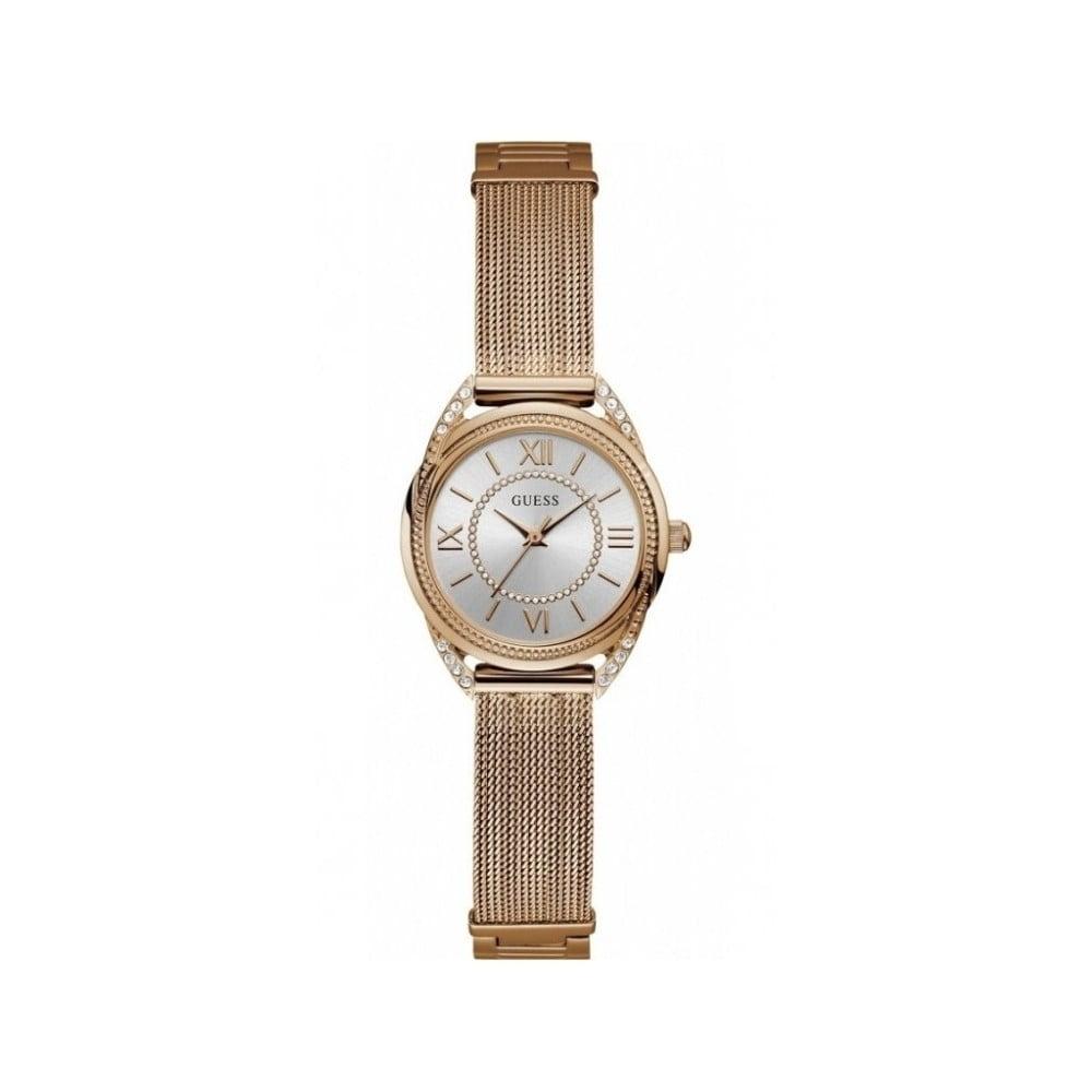 Dámske hodinky v ružovozlatej farbe s antikoro remienkom Guess W1084L3