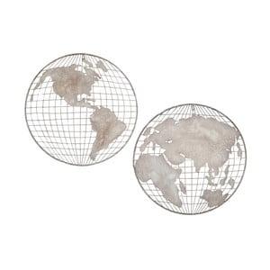 Sada 2 nástenných dekorácií v tvare zemegule Mauro Ferretti