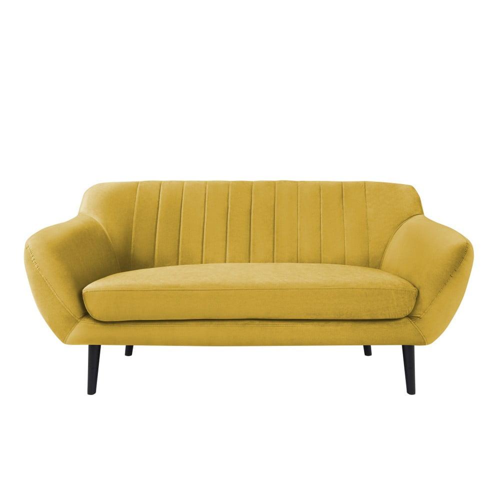 Žltá pohovka pre dvoch Mazzini Sofas Toscane, čierne nohy