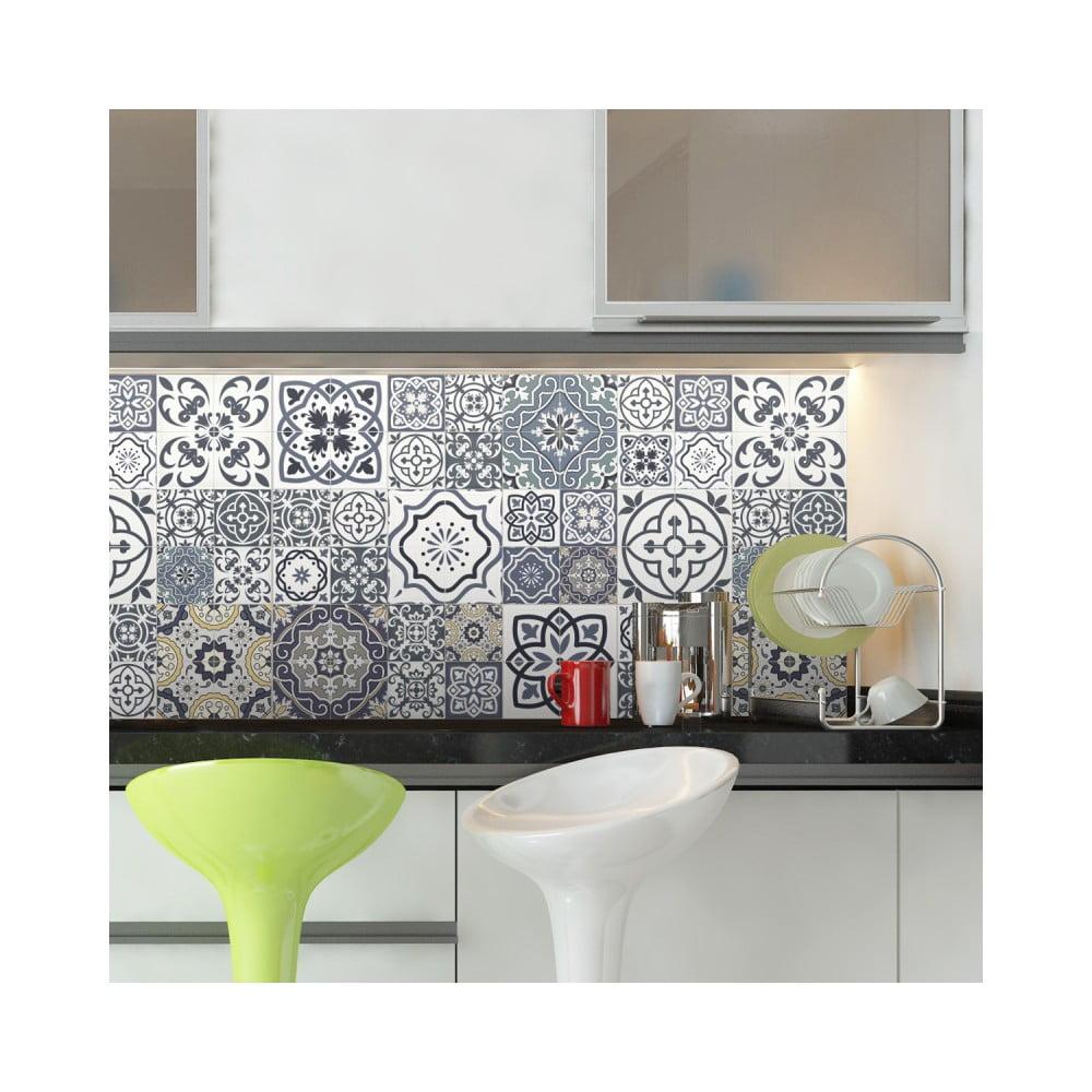 Sada 60 nástenných samolepiek Ambiance Wall Decal Cement Tiles Milonga, 15 × 15 cm
