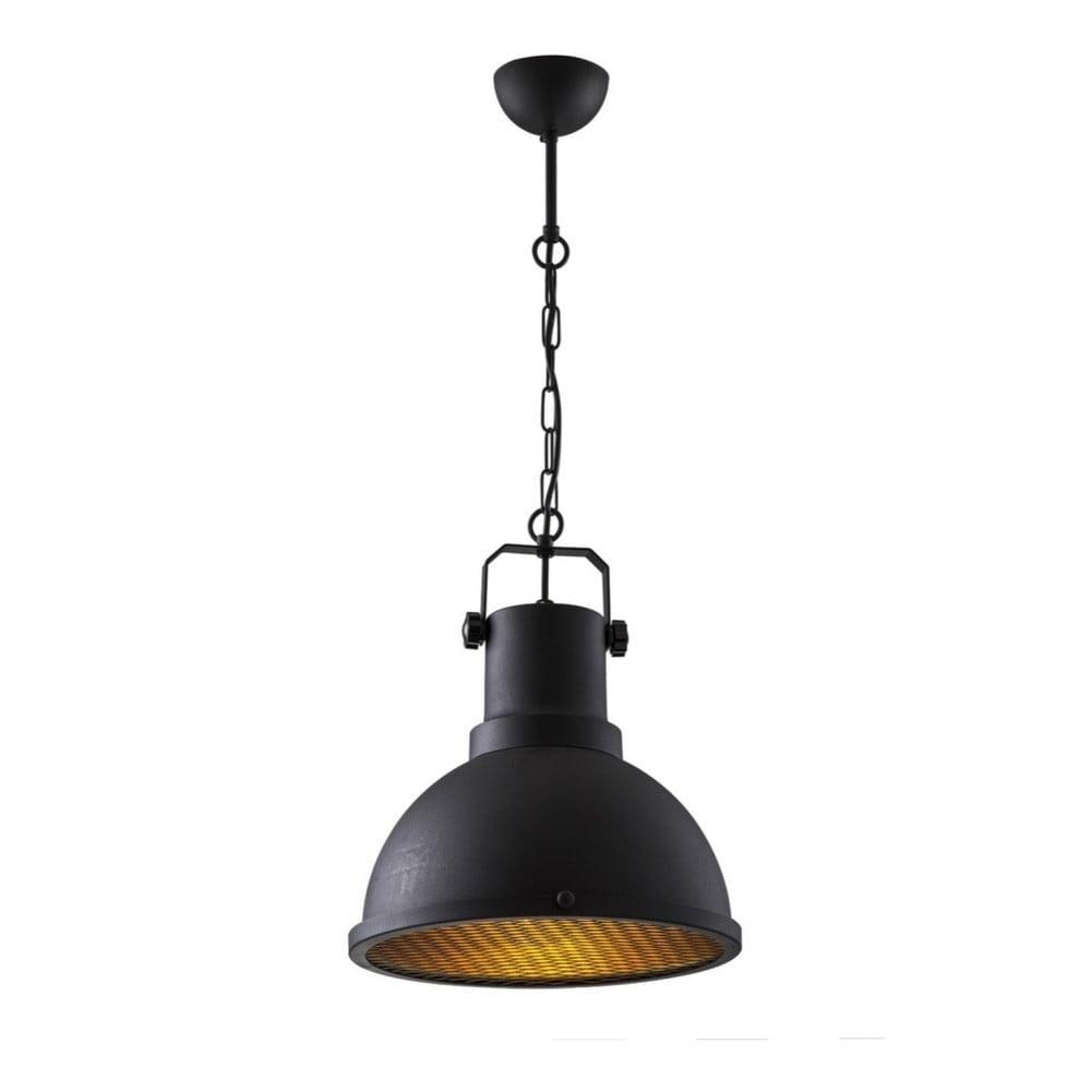 Čierne závesné kovové svietidlo Masivworks Loft