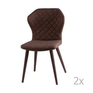 Sada 2 hnedých jedálenských stoličiek sømcasa Avery