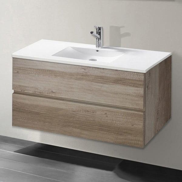 Kúpeľňová skrinka s umývadlom a zrkadlom Flopy, dekor dubu, 90 cm