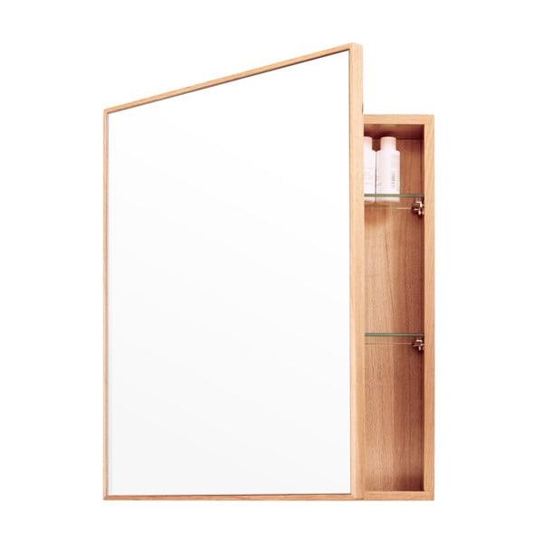 Zrkadlo s úložným priestorom z dubového dreva Mezza Wireworks, 45 x 55 cm