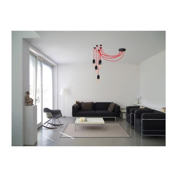 Červené deväťramenné závesné svetlo Filament Style Spider