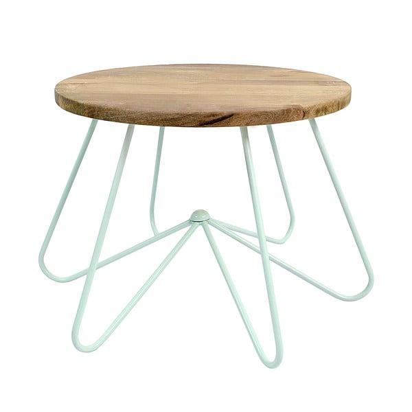 Svetlozelený stolík s doskou zmangového dreva HF Living Round Stocky