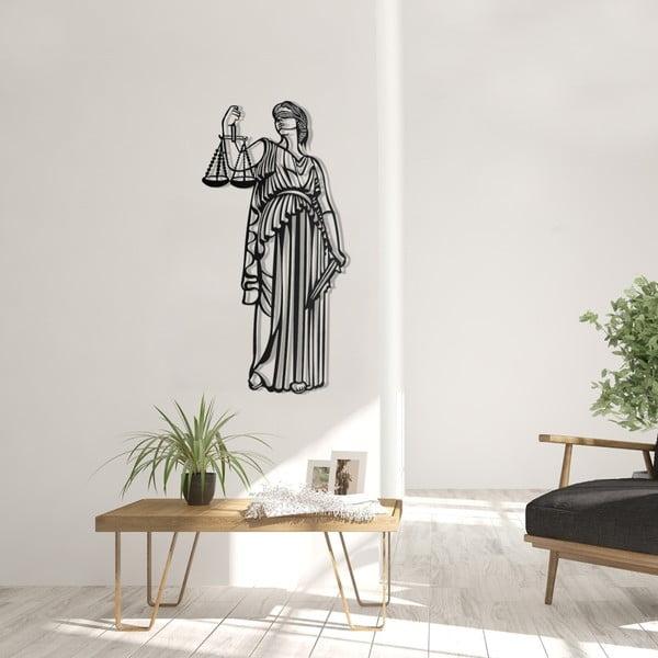 Čierna kovová nástenná dekorácia Justice, 35×70 cm