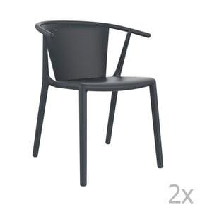 Sada 2 tmavosivých záhradných stoličiek Resol Steely