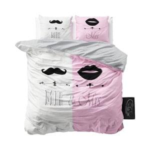 Ružové obliečky z mikroperkálu Sleeptime Mr and Mrs, 200 x 220 cm