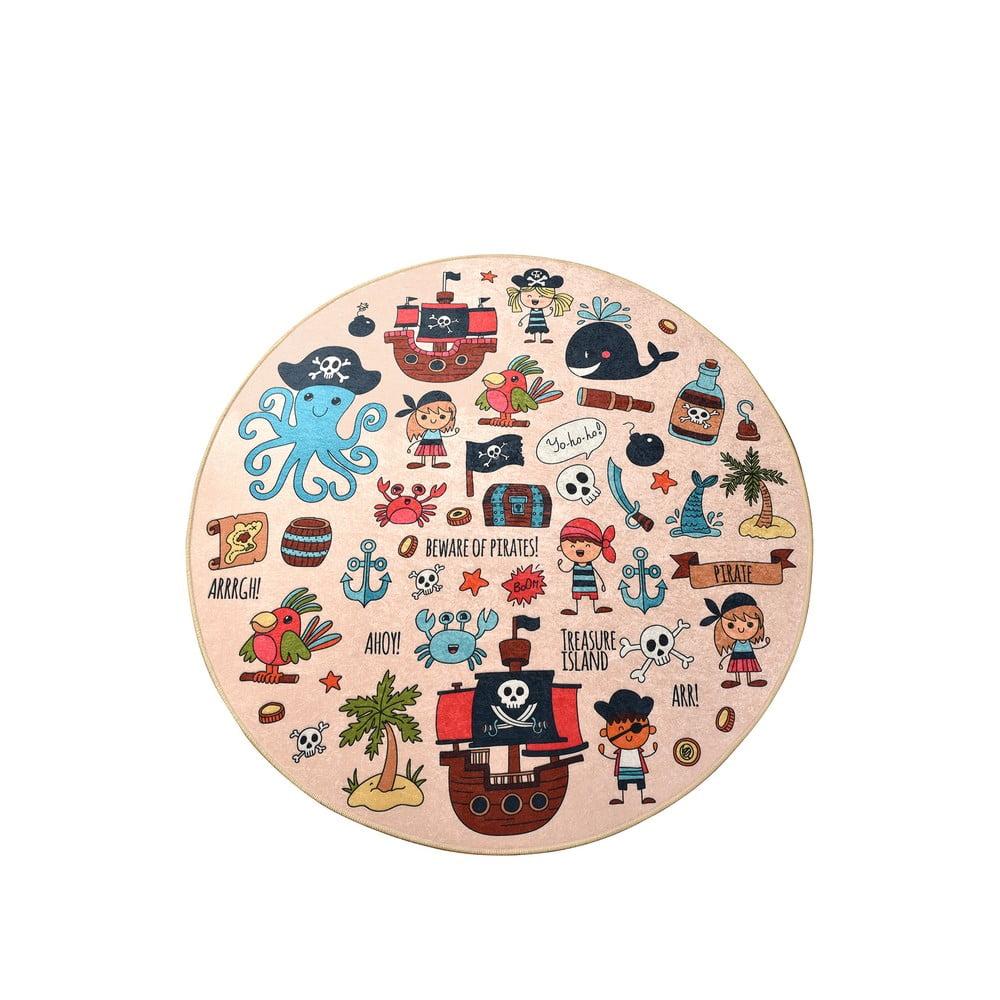 Detský protišmykový koberec Chilam Pirate, ø 140 cm