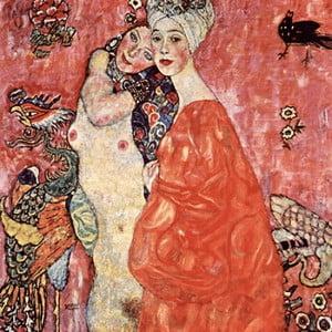 Reprodukcia obrazu Gustav Klimt - Girlfriends or Two Women Friends, 60x60cm