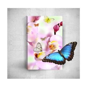 Nástenný 3D obraz Mosticx Butterflies With Pink Flowers, 40×60 cm