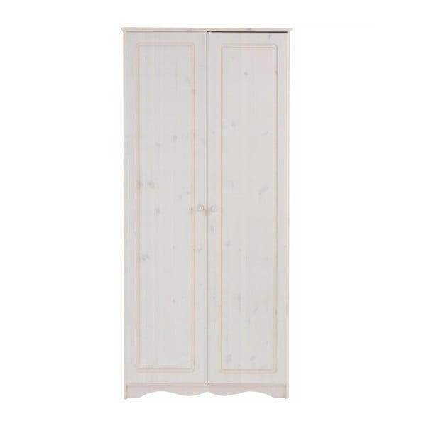 Biela dvojdverová šatníková skriňa z masívneho borovicového dreva Støraa Amanda