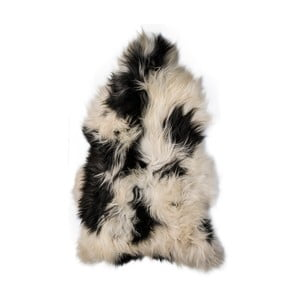 Čierno-biela ovčia kožušina s dlhým vlasom, 110x60cm