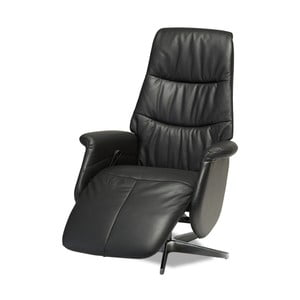 Čierna kožená polohovacia stolička Knuds Delta