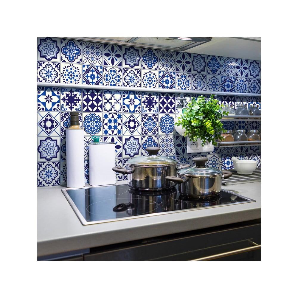 Sada 24 nástenných samolepiek Ambiance Decals Tiles Eusebio, 10 × 10 cm