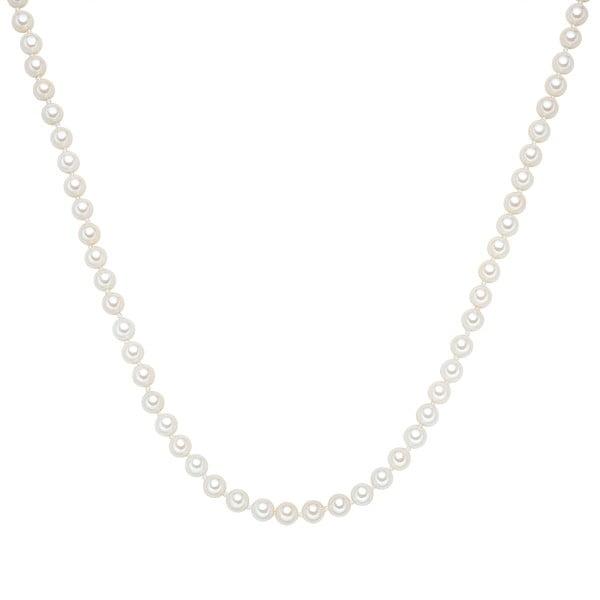 Perlový náhrdelník Muschel, biele perly 6 mm, dĺžka 120 cm