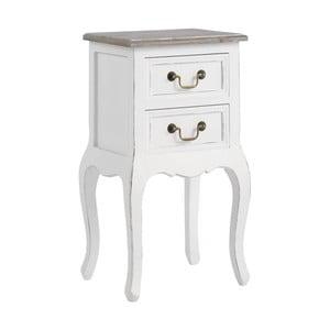 Biely nočný stolík z masívneho dreva s 2 zásuvkami 13Casa Adele
