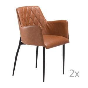 Sada 2 hnedých jedálenských stoličiek s opierkami DAN– FORM Rombo Faux