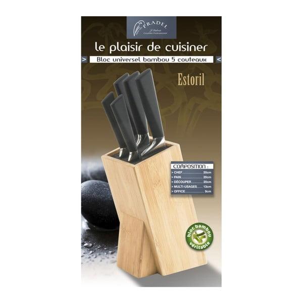 Set 5 nožov a bloku na nože Jean Dubost Estoril Bamboo