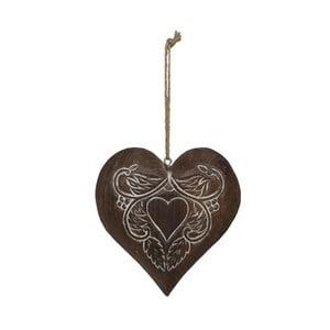 Závesná drevená dekorácia v tvare srdca Antic Line Lily