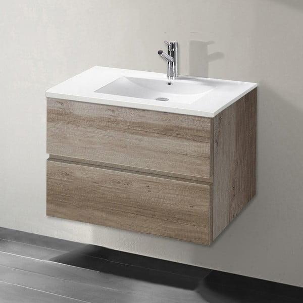 Kúpeľňová skrinka s umývadlom a zrkadlom Flopy, dekor dubu, 70 cm