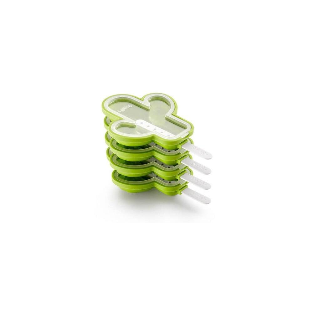 Súprava 4 zelených silikónových foriem na zmrzlinu v tvare kaktusu Lékué