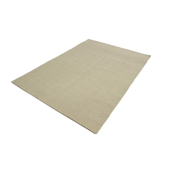 Ručne tkaný koberec Kilim Chevron White/Beige, 98x160 cm