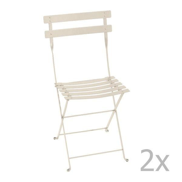 Sada 2 krémových skladacích stoličiek Fermob Bistro