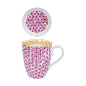 Ružový hrnček s tanierikom Tokyo Design Studio Star/Wave, 380 ml
