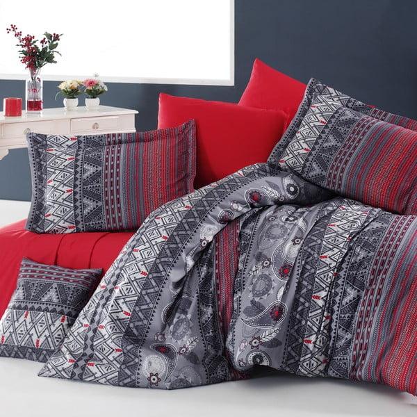 Obliečky z bavlneného saténu s plachtou Lenore,200x220cm, červené