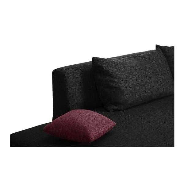 Čierno-ružová rozkladacia pohovka Modernist Pashmina, pravý roh