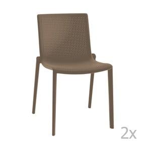 Sada 2 hnedých záhradných stoličiek Resol Beekat