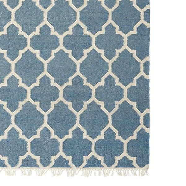 Modrý ručne tkaný vlnený koberec Linie Design Arifa, 160x230cm