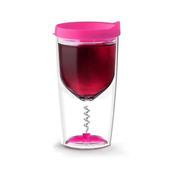 Termoska na víno s vývrtkou Vino Opener Pink