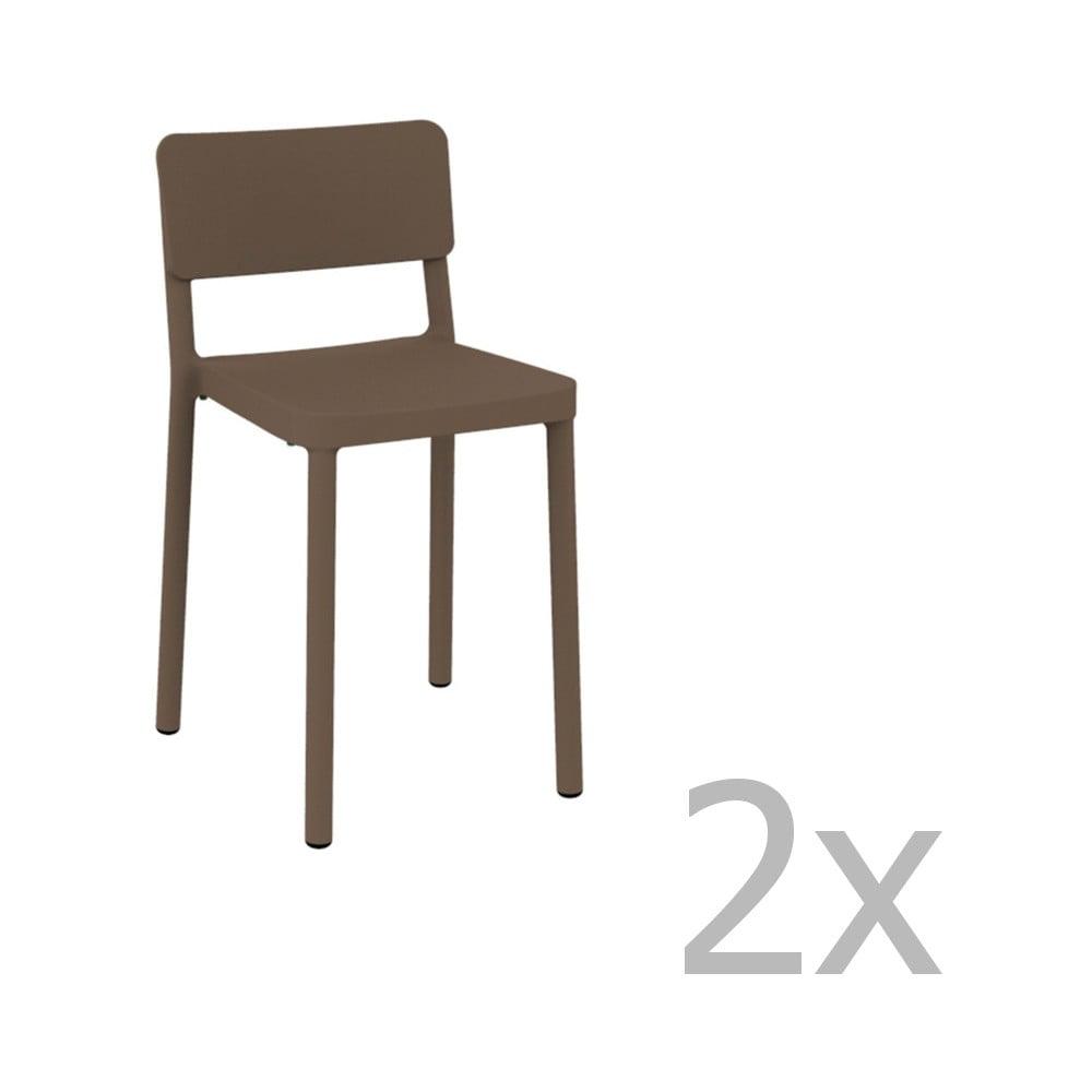 Sada 2 čokoládovohnedých barových stoličiek vhodných do exteriéru Resol Lisboa, výška 72,9 cm