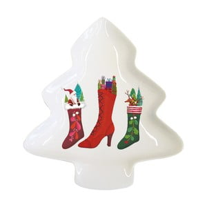 Porcelánová dekoratívna tácka s vianočným motívom PPD Happy Wintertime