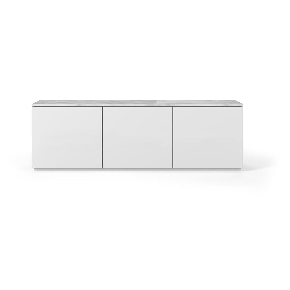 Biely televízny stolík s bielou doskou v mramorovom dekore TemaHome Join, 180 × 57 cm