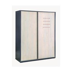 Čierna šatníková skriňa s dverami v prírodnej farbe Trio Sliding Wardrobe