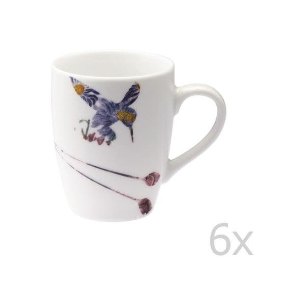 Sada 6 porcelánových hrnčekov Flutter, 300 ml