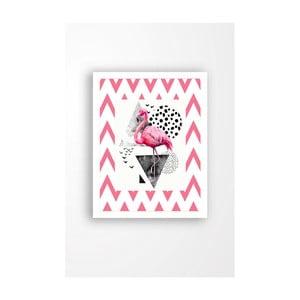 Nástenný obraz na plátne v bielom ráme Tablo Center Flamingo Pink, 29 × 24 cm