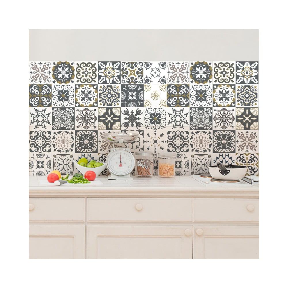Sada 30 nástenných samolepiek Ambiance Wall Decal Cement Tiles Antalya, 15 × 15 cm