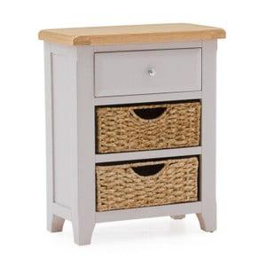Konzolový stolík z akáciového dreva so zásuvkou a 2 košíkmi VIDA Living Clemence